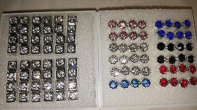 Joblot 48 pairs 8mm&7mm Hypoallergenic Diamante stud Earrings- NEW Wholesale 5