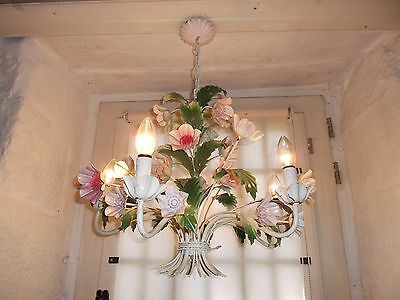 French exquisite 5 light chandelier tole pretty floral  vintage