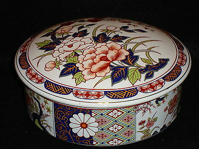 Japanese IMARI WARE Large Porcelain COVERED CANDY / TRINKET / JEWELRY DISH