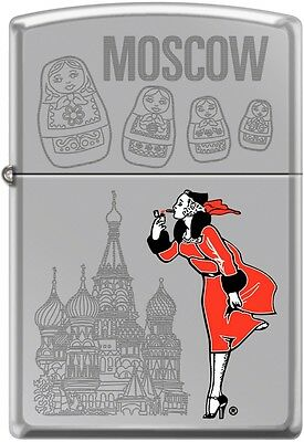 Zippo Windy Girl Traveling Cities Moscow High Polish Chrome New Rare