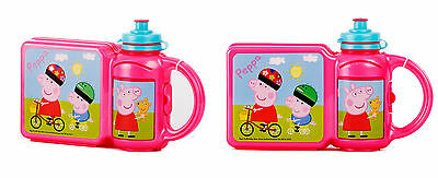 Children's Official Licensed  Peppa Pig Hardcase Lunch Box Set Brand New