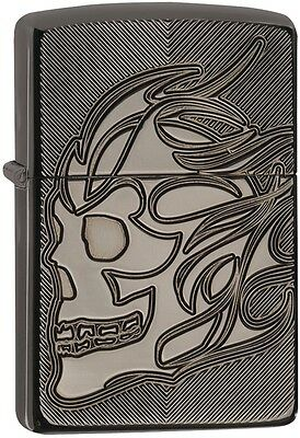 Zippo Choice Catalog Skull Armor Black Ice Deep Carve 29230 NEW