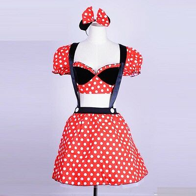 Sexy red minnie mouse costume adult halloween cosplay fancy dress+handwear S-2XL  sc 1 st  PicClick & SEXY RED MINNIE mouse costume adult halloween cosplay fancy dress+ ...