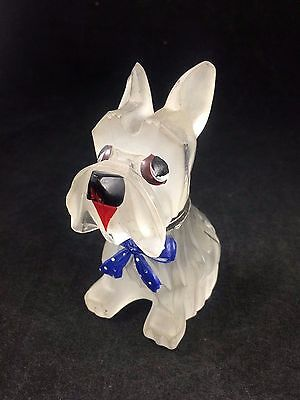 Czech Glass Scottie Dog with Blue Bow Inkwell Painted Tongue Eyes Nose