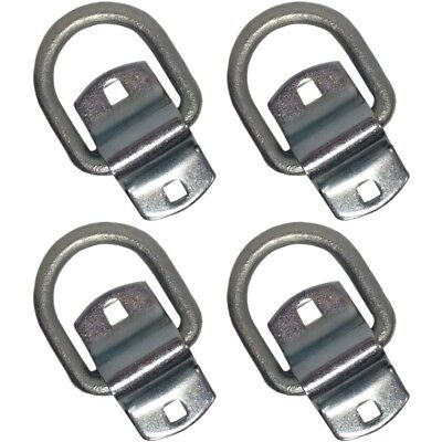 """(4) New Forged 1/2"""" D-Rings with Bolt-on Clips Truck Trailer D Ring & Clip 4 pk"""