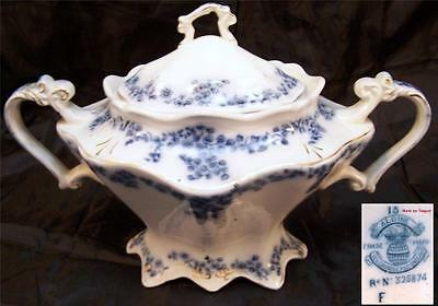 Rare Grindley Aldine Blue and White Covered Sugar and Creamer 1880s