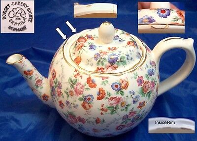 Dorset Cheery Chintz Erphila Germany 6 Cup Teapot Some Repairs