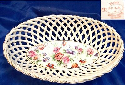 Dorset Cheery Chintz Erphila Germany Woven Basket Oval Bowl