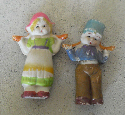 "Lot of 2 Vintage 1930s Japan Bisque Milk Maid Girl and Boy Figurines 3"" Tall"