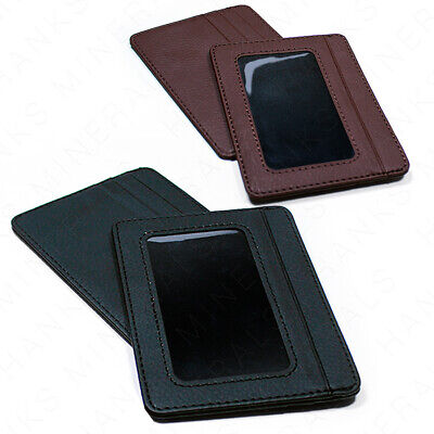 Mens Slim Leather Wallet Card Holder Window Credit Cash ID Pocket Thin Minimal