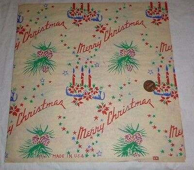 Vintage MERRY CHRISTMAS WRAPPING GIFT TISSUE PAPER