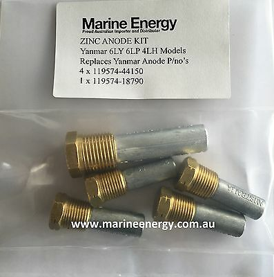 Aftermarket Yanmar Anodes Kit 6LY, 6LY2, 6LP, 4LHA 119574-44150 119574-18790