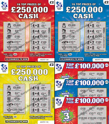 FAKE JOKE  LOTTERY SCRATCH CARDS TICKETS ScratchCards  £50,000 - £250,000