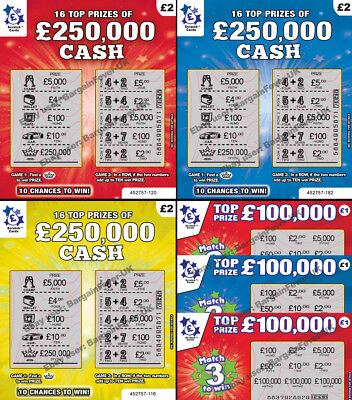 Fake Joke  Lottery Scratch Cards Tickets Scratchcards - All Win £50,000-£250,000