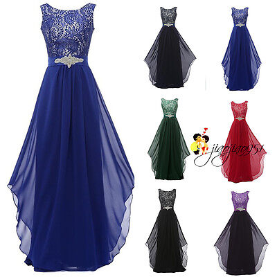 STOCK Long Formal Wedding Bridesmaid Dress Lace Prom Party Ball Evening Gown6-20