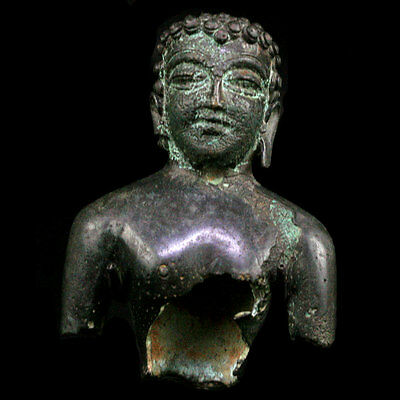 Rare North Indian bronze bust of Buddha, 5th to 7th Century A.D., x9453