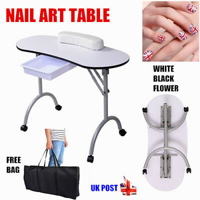 Portable Manicure Table with Carry Bag Drawer Nail Desk White Black Foldable