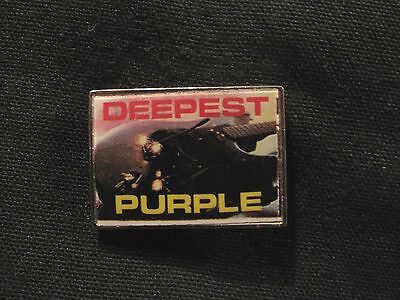 Vintage Deep Purple Metal Pin Badge Button Uk Made