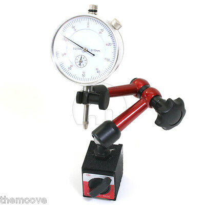 0 - 10mm DIAL INDICATOR GAUGE + Magnetic Base Holder PRECISE MEASURING Long Arm