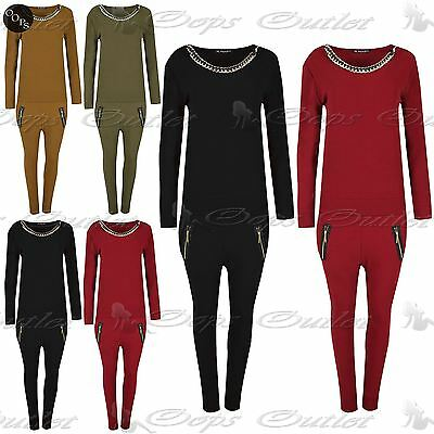 Womens Full Sleeves Golden Necklace Towie Lounge Wear Ladies Tracksuit Jogging