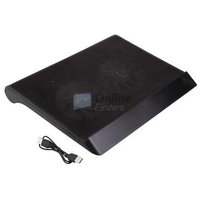 """LED 2 USB Laptop Air Cooling Cooler 2 Fans Stand Pad for 17"""" Notebook PC UK"""