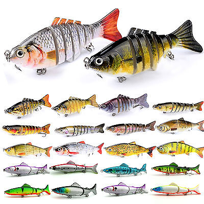 3/4/7/8 Jointed Sections Fishing Lure Swimbait Crankbait Bass Hook Pike Tackle