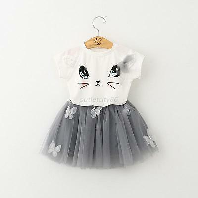 Toddler Kids Baby Girls  T-shirt Tops+Tutu Dress Skirt 2PCS Sets Outfits Clothes
