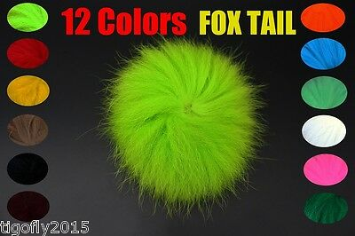 12 pcs Colours Natural Fox Tail Hair Fly Tying Materials