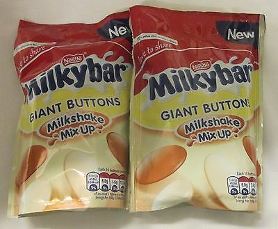 909608 2 x 110g POUCHES OF MILKYBAR GIANT BUTTONS MILKSHAKE MIX UP - NEW!