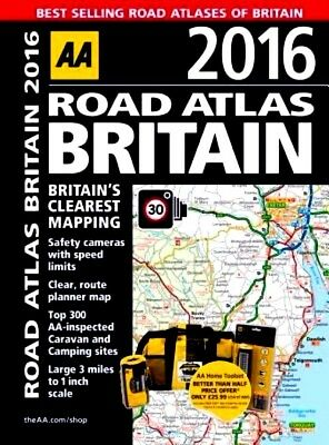 AA Road Atlas BRITAIN 2016 by AA : WH2 -TBL-3 -BLK882 :  NEW Road Atlas
