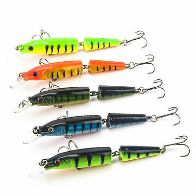 Lot 5PC Multi-jointed Minnow Fishing Lures Swimbait Bass Crank Bait Tackle Hook