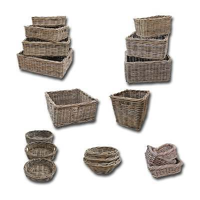 Wicker Grey & Buff Rattan Storage Basket Tray Cube Small Large Deep Shallow Unit