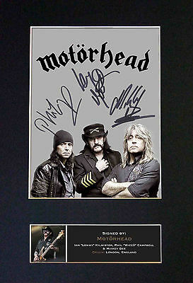 MOTORHEAD Signed Mounted Autograph Photo Prints A4 472