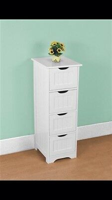 / Tall N' Slim Wooden Chest Of Drawers In White - New