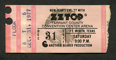 1977 ZZ Top Muddy Waters Concert Ticket Stub Fort Worth Worldwide Texas Tour