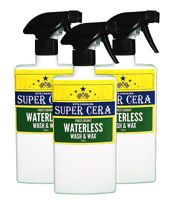 Super Cera Waterless Car Wash and Wax Cleaner Polish 3 x 500ml and 2 microfibre