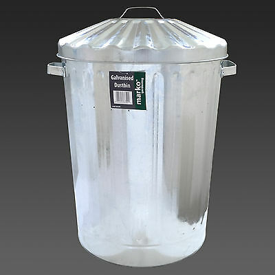 90L Metal Galvanised Bin Rubbish  Waste Dustbin Storage Garden Lid Metal Garbage