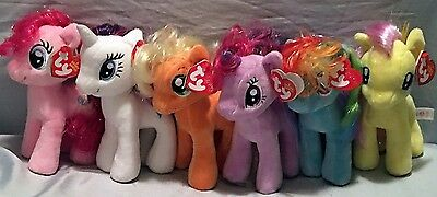 My Little Pony Ty Beanie Baby set of 6 - Sparkle 2nd ed - MWMT - FREE SHIPPING