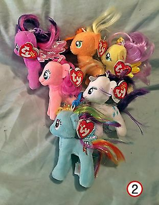 My Little Pony Ty Beanie Baby Clips set of 6 - New  - MWMT - FREE SHIPPING -2-