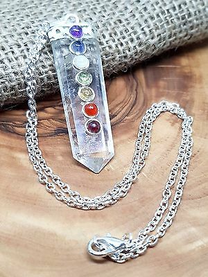 "QUARTZ 7 CHAKRA FLAT POINT PENDANT 18"" NECKLACE GEMSTONE HEALING REIKI    j8"