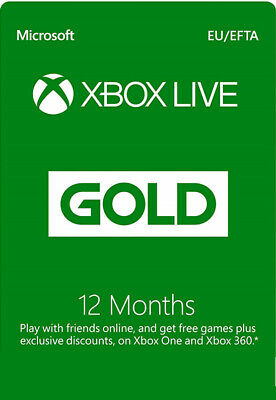Xbox Live 12 Month Gold Membership For Microsoft Xbox One Xbox 360 FAST UK