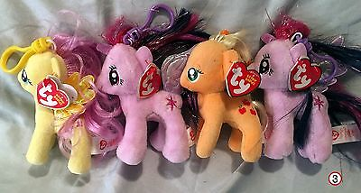 My Little Pony Ty Beanie Baby Clips set of 4 - New  - MWMT - FREE SHIPPING -3-