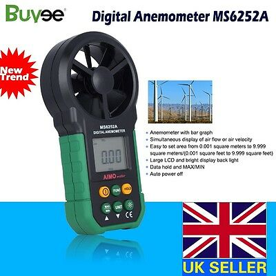 LCD Digital Anemometer Wind Speed Meter Air Volume hand-held HYELEC MS6252A