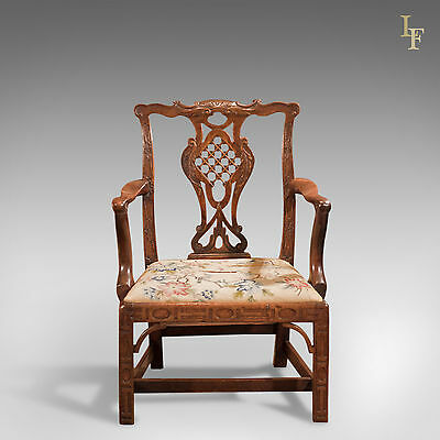 Antique Elbow chair, Open Armchair, Robert Manwaring, English Chippendale c.1760