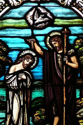 Antique Gothic Church Stained Glass Window Baptism of Jesus