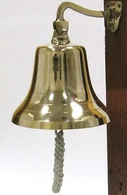 """NAUTICAL Marine NAVIGATION 8"""" Shiny Solid Brass Large SHIP BELL with BRACKET New"""