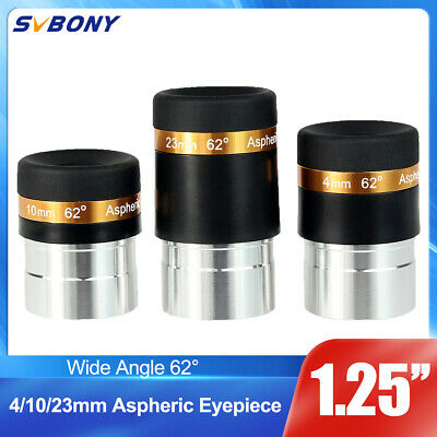 """1.25"""" HD 4/10/23mm Wide Angle 62° Aspheric Telescope Eyepieces Set for Astronomy"""