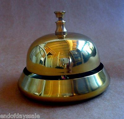 Shiny Brass SHOPKEEPERS BELL Desk Counter Hotel Front Desk RING FOR SERVICE NEW!