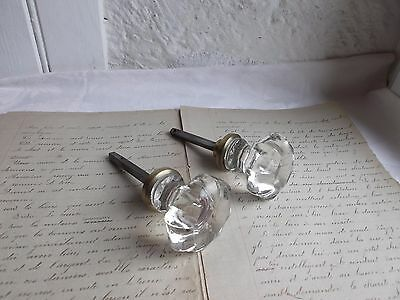 French 2 of antique crystal door knobs  classic c.1900 to any projects
