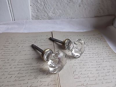 French 2 of antique crystal door knobs  classic c.1900 to any projects • CAD $63.12